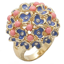 Load image into Gallery viewer, 1W106 - Gold Brass Ring with Semi-Precious Coral in Rose