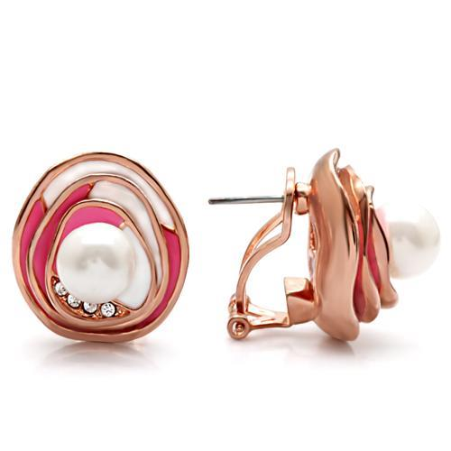 1W123 - Rose Gold Brass Earrings with Synthetic Pearl in White