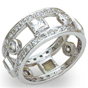 20421 - High-Polished 925 Sterling Silver Ring with AAA Grade CZ  in Clear