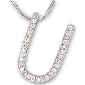 21619 - Rhodium Brass Pendant with AAA Grade CZ  in Clear