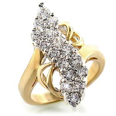 2W017 - Gold+Rhodium Brass Ring with AAA Grade CZ  in Clear