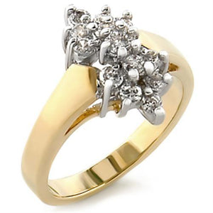 2W022 - Gold+Rhodium Brass Ring with AAA Grade CZ  in Clear