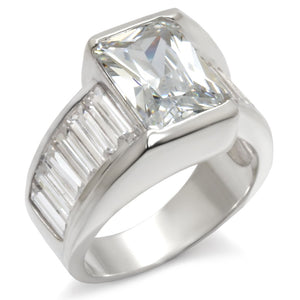 30331 - High-Polished 925 Sterling Silver Ring with AAA Grade CZ  in Clear
