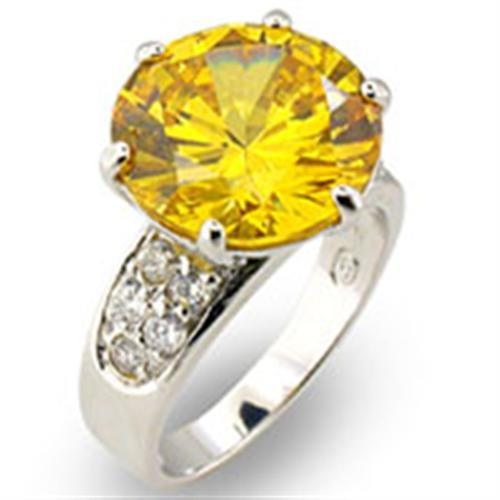 31219 - High-Polished 925 Sterling Silver Ring with AAA Grade CZ  in Citrine
