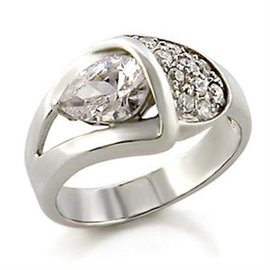 32128 - High-Polished 925 Sterling Silver Ring with AAA Grade CZ  in Clear