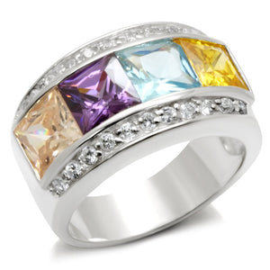 32919 - High-Polished 925 Sterling Silver Ring with AAA Grade CZ  in Multi Color