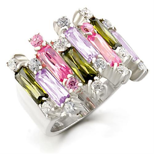 37611 - High-Polished 925 Sterling Silver Ring with AAA Grade CZ  in Multi Color