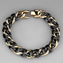 Load image into Gallery viewer, 3W1002 - IP Rose Gold(Ion Plating) Stainless Steel Bracelet with Ceramic  in Jet