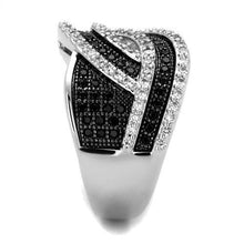 Load image into Gallery viewer, 3W1090 - Rhodium + Ruthenium Brass Ring with AAA Grade CZ  in Black Diamond