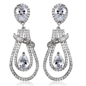 3W1095 - Rhodium Brass Jewelry Sets with AAA Grade CZ  in Clear