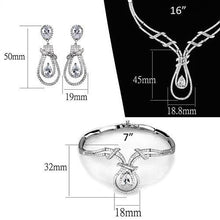 Load image into Gallery viewer, 3W1095 - Rhodium Brass Jewelry Sets with AAA Grade CZ  in Clear