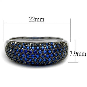 3W1212 - Rhodium + Ruthenium Brass Ring with AAA Grade CZ  in London Blue