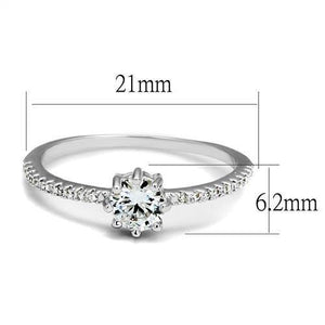3W1233 - Rhodium Brass Ring with AAA Grade CZ  in Clear