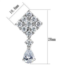 Load image into Gallery viewer, 3W1288 - Rhodium Brass Earrings with AAA Grade CZ  in Clear