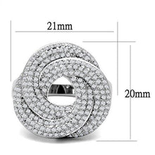 Load image into Gallery viewer, 3W1319 - Rhodium Brass Ring with AAA Grade CZ  in Clear