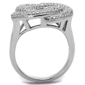 3W1319 - Rhodium Brass Ring with AAA Grade CZ  in Clear
