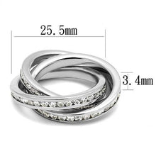 Load image into Gallery viewer, 3W1331 - Rhodium Brass Ring with AAA Grade CZ  in Clear