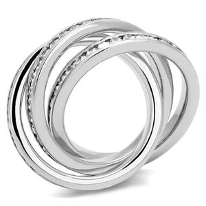 3W1331 - Rhodium Brass Ring with AAA Grade CZ  in Clear