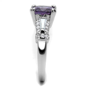 3W1365 - Rhodium Brass Ring with AAA Grade CZ  in Amethyst