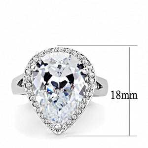 3W1469 - Rhodium Brass Ring with AAA Grade CZ  in Clear
