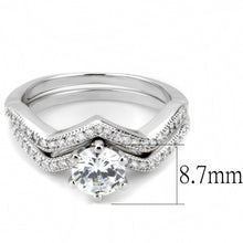 Load image into Gallery viewer, 3W1505 - Rhodium Brass Ring with AAA Grade CZ  in Clear