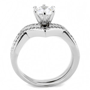 3W1505 - Rhodium Brass Ring with AAA Grade CZ  in Clear