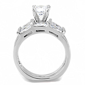 3W1515 - Rhodium Brass Ring with AAA Grade CZ  in Clear