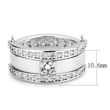 Load image into Gallery viewer, 3W1549 - Rhodium Brass Ring with AAA Grade CZ  in Clear