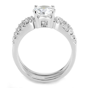 3W1554 - Rhodium Brass Ring with AAA Grade CZ  in Clear
