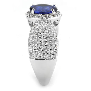 3W1563 - Rhodium Brass Ring with Synthetic Spinel in London Blue