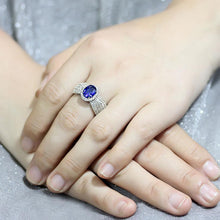 Load image into Gallery viewer, 3W1563 - Rhodium Brass Ring with Synthetic Spinel in London Blue