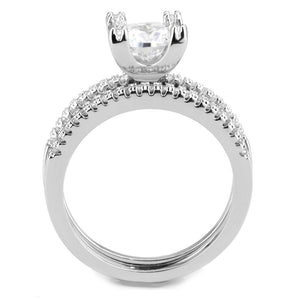 3W1589 - Rhodium Brass Ring with AAA Grade CZ  in Clear