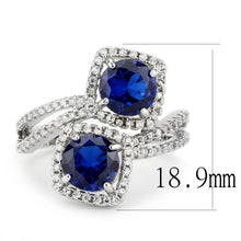 Load image into Gallery viewer, 3W1600 - Rhodium Brass Ring with AAA Grade CZ  in London Blue