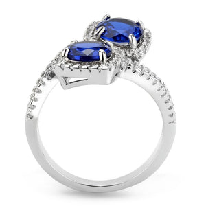 3W1600 - Rhodium Brass Ring with AAA Grade CZ  in London Blue