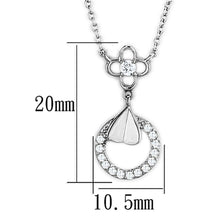 Load image into Gallery viewer, 3W419 - Rhodium Brass Necklace with AAA Grade CZ  in Clear