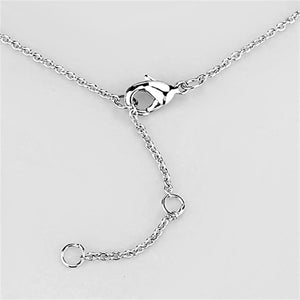 3W419 - Rhodium Brass Necklace with AAA Grade CZ  in Clear