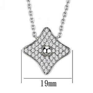 3W430 - Rhodium Brass Necklace with AAA Grade CZ  in Clear