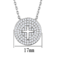 Load image into Gallery viewer, 3W434 - Rhodium Brass Necklace with AAA Grade CZ  in Clear