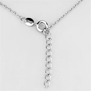 3W434 - Rhodium Brass Necklace with AAA Grade CZ  in Clear