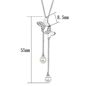 3W442 - Rhodium Brass Necklace with Synthetic Pearl in White