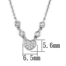 Load image into Gallery viewer, 3W449 - Rhodium Brass Necklace with AAA Grade CZ  in Clear