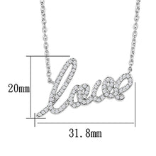 Load image into Gallery viewer, 3W453 - Rhodium Brass Necklace with AAA Grade CZ  in Clear