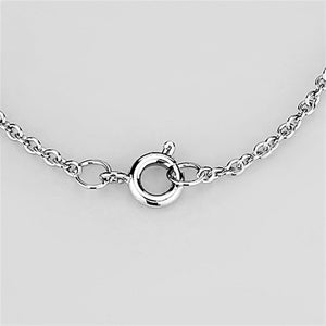 3W453 - Rhodium Brass Necklace with AAA Grade CZ  in Clear