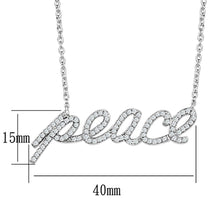 Load image into Gallery viewer, 3W457 - Rhodium Brass Necklace with AAA Grade CZ  in Clear