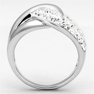 3W466 - Rhodium Brass Ring with Top Grade Crystal  in Clear