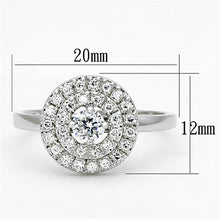 Load image into Gallery viewer, 3W493 - Rhodium Brass Ring with AAA Grade CZ  in Clear
