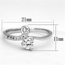 Load image into Gallery viewer, 3W497 - Rhodium Brass Ring with AAA Grade CZ  in Clear
