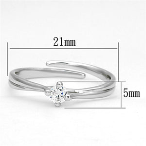3W520 - Rhodium Brass Ring with AAA Grade CZ  in Clear