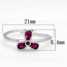 Load image into Gallery viewer, 3W521 - Rhodium Brass Ring with Synthetic Corundum in Ruby