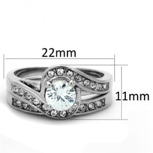 Load image into Gallery viewer, 3W575 - Rhodium Brass Ring with AAA Grade CZ  in Clear